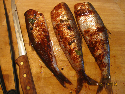 Red old-fashioned marinated spiced herring